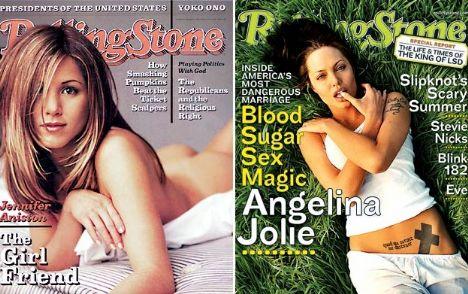 Angelina Jolie 2001'de, Jennifer Aniston ise 2004'de Rolling Stones'a kapak oldu..